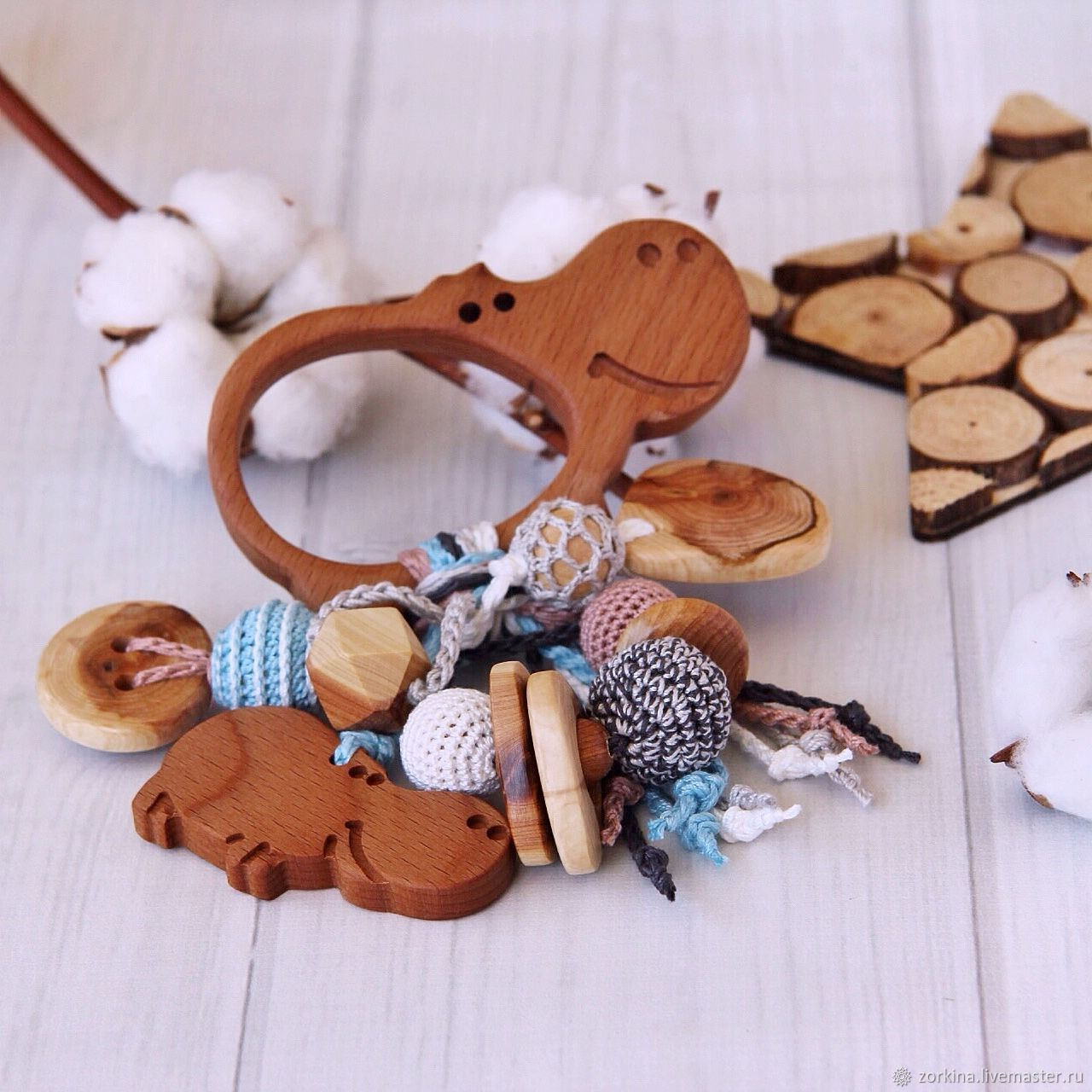Rattle, teething toy for baby juniper Family of Hippo, Teethers and rattles, Moscow,  Фото №1