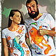 Wedding Gifts handmade. Livemaster - handmade. Buy paired t-shirts are my Fish!!!.Fish, blue, jersey