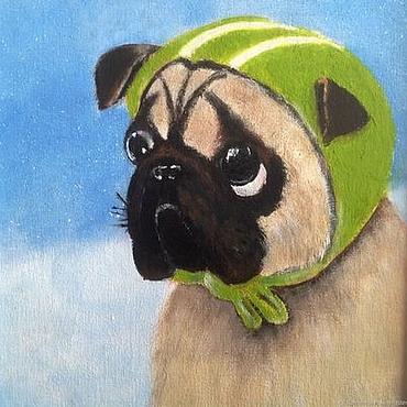 """Картины и панно ручной работы. Ярмарка Мастеров - ручная работа Картина с собакой """"Смешной мопс"""" - картина маслом. Handmade."""