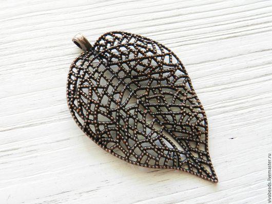 Подвеска кулон Лист,  размер 85x51 мм цвет МЕДЬ, материал - сплав металлов, не содержит никеля (арт. 2035)