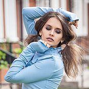 Одежда ручной работы. Ярмарка Мастеров - ручная работа V_005 Водолазка симметричная, цвет голубой. Handmade.