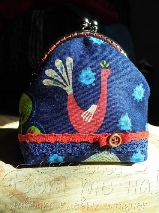 Женские сумки ручной работы. Ярмарка Мастеров - ручная работа. Купить Кошелек на фермуаре. Handmade. Тёмно-синий, деревянные пуговицы