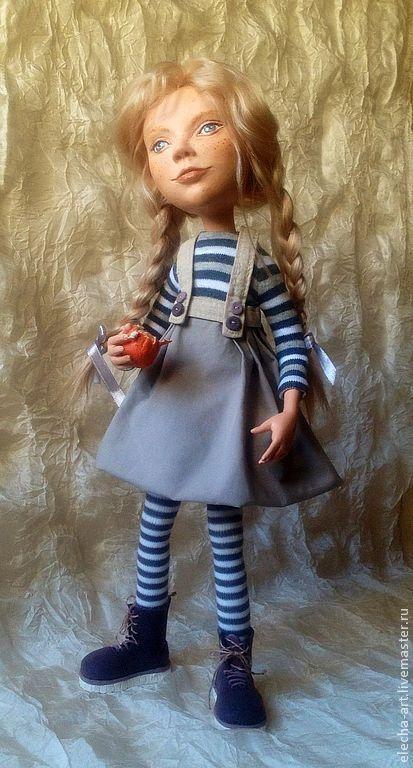 Коллекционные куклы ручной работы. Ярмарка Мастеров - ручная работа. Купить Авторская кукла из полимерной глины Девочка с апельсином. Handmade.
