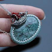 Украшения handmade. Livemaster - original item Bead pendant with agate and ship. Handmade.