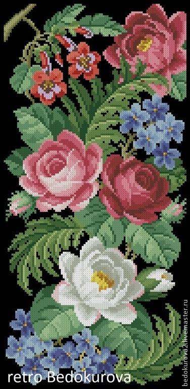 Вышивка ручной работы. Ярмарка Мастеров - ручная работа. Купить Ретро  цветочная панель 5. Handmade. Ярко-красный