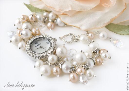 """Часы ручной работы. Ярмарка Мастеров - ручная работа. Купить Часы-браслет """"Нежность"""" (жемчуг). Handmade. Кремовый, часы, белый"""