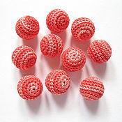 Бусины ручной работы. Ярмарка Мастеров - ручная работа Набор из 10 бусин, цв. розовый - красный. Handmade.