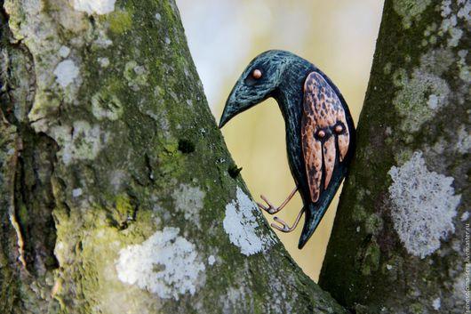 """Броши ручной работы. Ярмарка Мастеров - ручная работа. Купить """" Ворон Ча"""". Handmade. Темно-серый, птица, клён"""