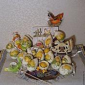 """Пасхальные сувениры ручной работы. Ярмарка Мастеров - ручная работа Пасхальный яички """"Веселые цыплята"""". Handmade."""