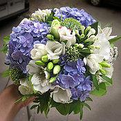 Свадебный салон ручной работы. Ярмарка Мастеров - ручная работа Букет невесты бело-синий. Handmade.