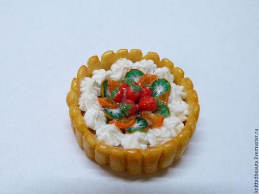 Еда ручной работы. Ярмарка Мастеров - ручная работа. Купить Тортик фруктовый. Handmade. Кукольный дом, кукольная еда