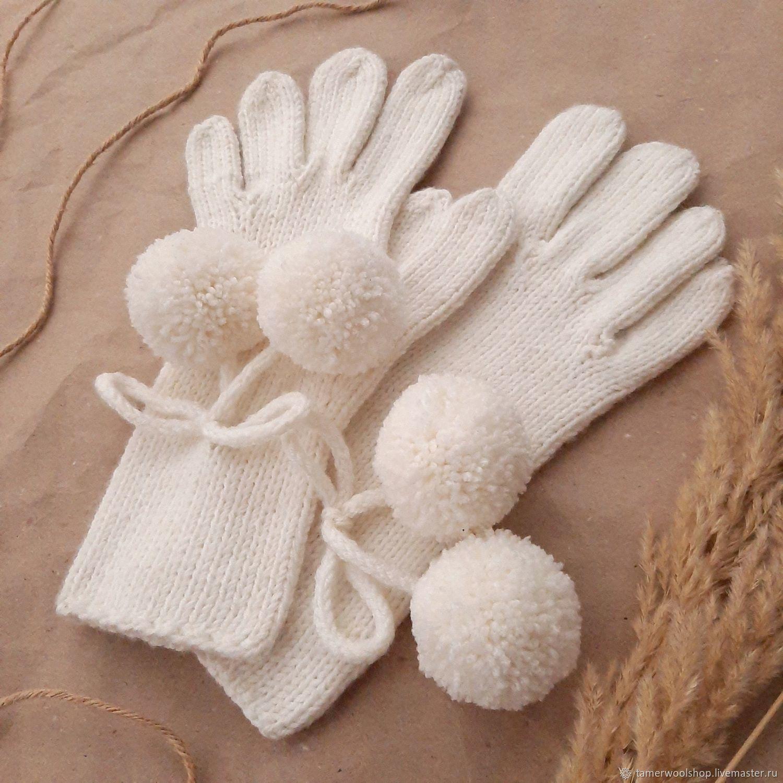 Вязаные женские перчатки с помпонами, шерстяные белые перчатки, Перчатки, Москва,  Фото №1