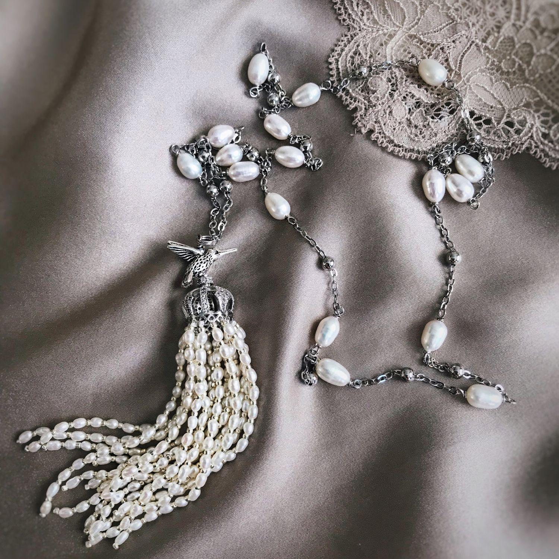 Сотуар из натурального жемчуга Silk Pearl, Лариаты, Москва,  Фото №1