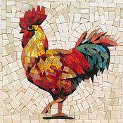 Картины и панно ручной работы. Ярмарка Мастеров - ручная работа Петух, мозаичное панно , символ 2017. Handmade.