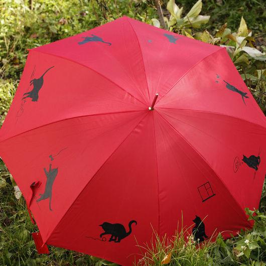 Зонты ручной работы. Ярмарка Мастеров - ручная работа. Купить Зонт  Кошачьи занятия. Handmade. Ярко-красный, зонт с рисунком