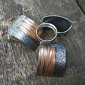 Украшения ручной работы. Ярмарка Мастеров - ручная работа серебряный комплект с декоративными накладками. Handmade.