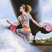 """Одежда ручной работы. Ярмарка Мастеров - ручная работа Платье """"Огненный хвост ледяной кометы"""" из хлопка. Handmade."""