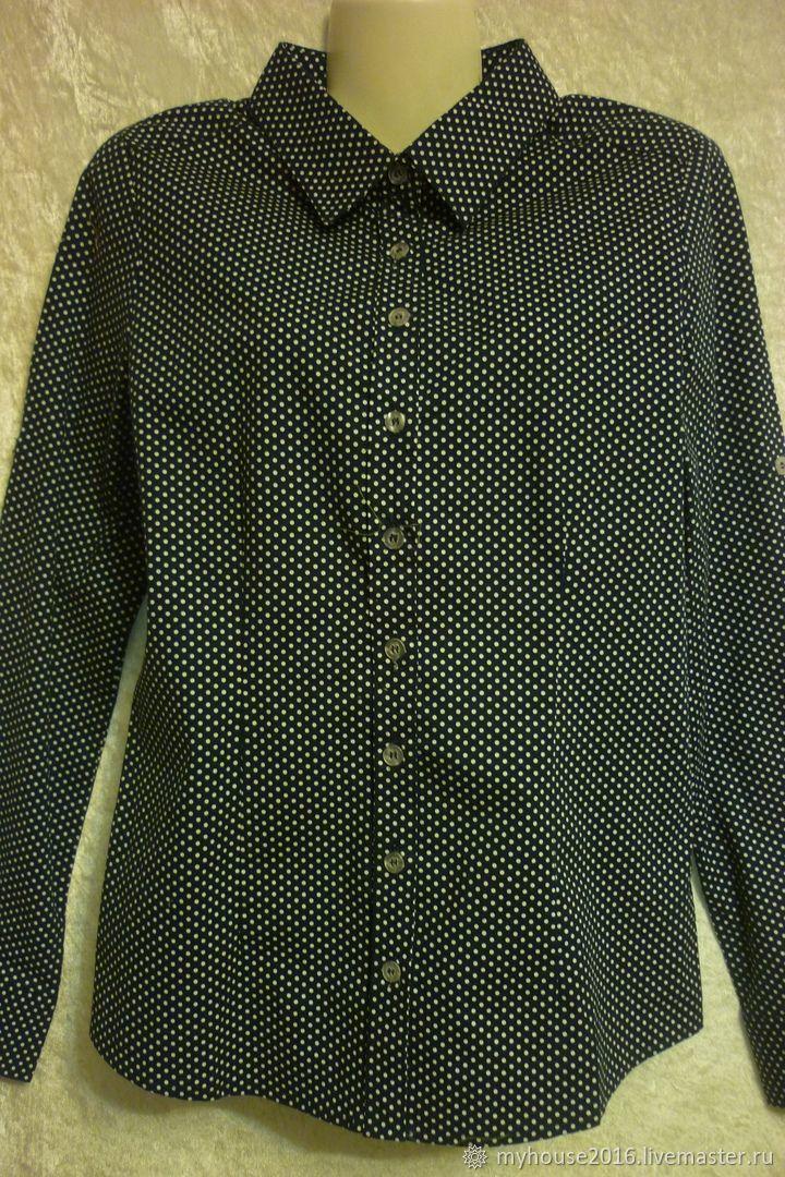Рубашка из хлопка Черная в Белый Горошек, Рубашки, Рязань,  Фото №1