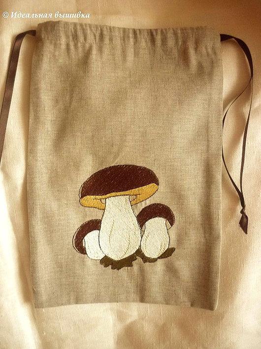 """Кухня ручной работы. Ярмарка Мастеров - ручная работа. Купить Мешочек """"Белые грибы"""". Handmade. Идеальная вышивка, мешочек для трав"""