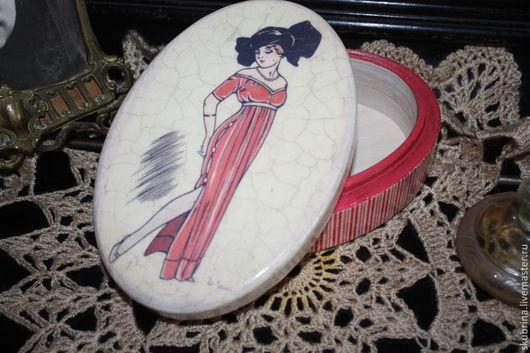 модница, подарок на 8 марта, шкатулка декупаж, состаренная, с кракелюром
