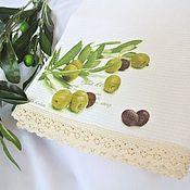 Для дома и интерьера handmade. Livemaster - original item Kitchen towel waffle cotton with lace Olives in Provence style. Handmade.
