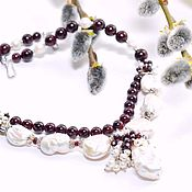 Украшения handmade. Livemaster - original item Garnet necklace with a Baroque pearl