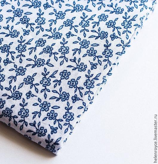 Шитье ручной работы. Ярмарка Мастеров - ручная работа. Купить Ткань Хлопок Голубые цветочки на белом фоне. Handmade. Хлопок