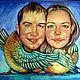 Свадебный шарж по фотографии. Пастель, бумага 30х40, Москва, 2008. - 6000 руб