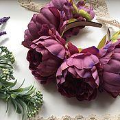 Украшения ручной работы. Ярмарка Мастеров - ручная работа Ободок с пионами фиолетовый. Handmade.