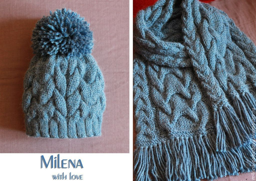 Knitted set Jeans, knitted hat, knitted scarf, Headwear Sets, Minsk,  Фото №1