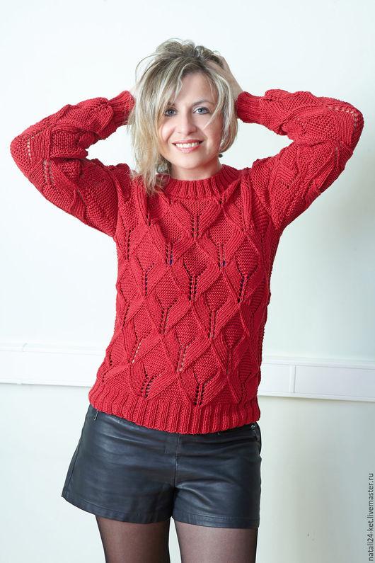 """Кофты и свитера ручной работы. Ярмарка Мастеров - ручная работа. Купить свитер """"бордо"""". Handmade. Бордовый, ажурный узор, подарок"""