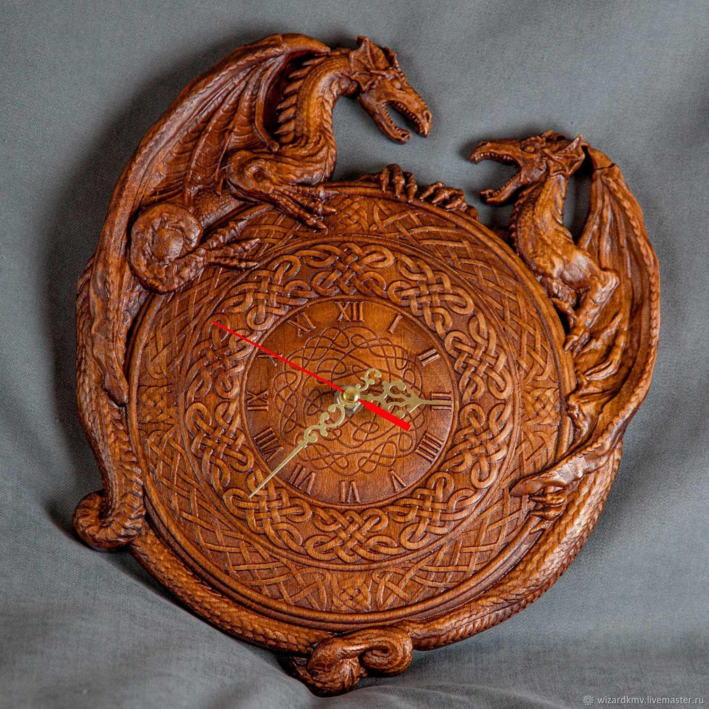 Часы для дома ручной работы. Ярмарка Мастеров - ручная работа. Купить Часы Драконы. Handmade. Коричневый, часы на стену