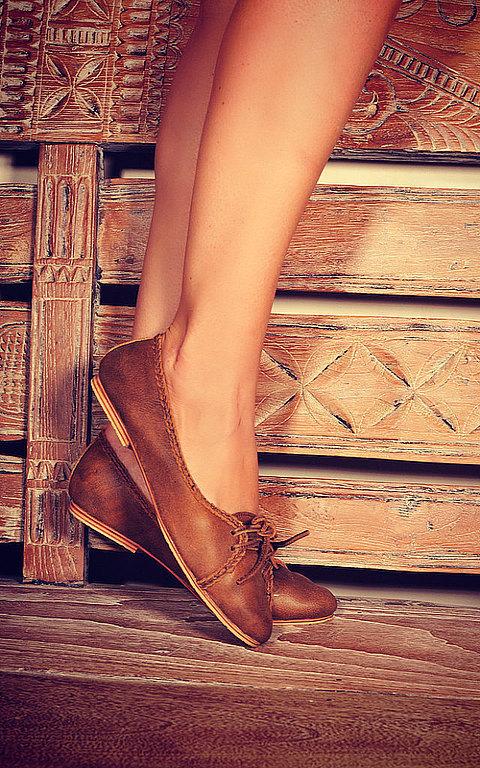 Обувь ручной работы. Ярмарка Мастеров - ручная работа. Купить Sasha. Балетки из кожи, для прогулок, дома и офиса.. Handmade. Коричневый