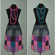 Одежда handmade. Livemaster - original item Denim skirt with colored squares