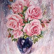 Картины и панно handmade. Livemaster - original item Watercolor painting Bouquet of roses. Handmade.