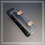 Сумки и аксессуары handmade. Livemaster - original item Cardholders / business card holder for 72 cards. Black weathered, red.. Handmade.
