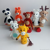 Куклы и игрушки handmade. Livemaster - original item Finger toys Zoo Panda Monkey Zebra Tiger Deer Giraffe. Handmade.