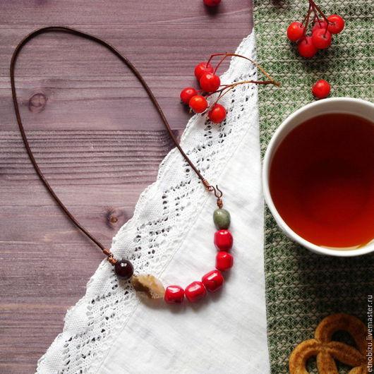 """Колье, бусы ручной работы. Ярмарка Мастеров - ручная работа. Купить Бохо-бусы """"Чай с калиной"""". Handmade. Ярко-красный"""