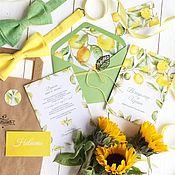 Свадебный салон ручной работы. Ярмарка Мастеров - ручная работа Акварельные свадебные желтые лимонные приглашения Солнце за облаками. Handmade.