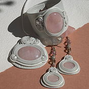 Украшения handmade. Livemaster - original item Jewelry set bracelet, pendant and earrings with pink quartz.. Handmade.