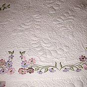 """Для дома и интерьера ручной работы. Ярмарка Мастеров - ручная работа Лоскутное покрывало """"Цветы на белом"""". Handmade."""