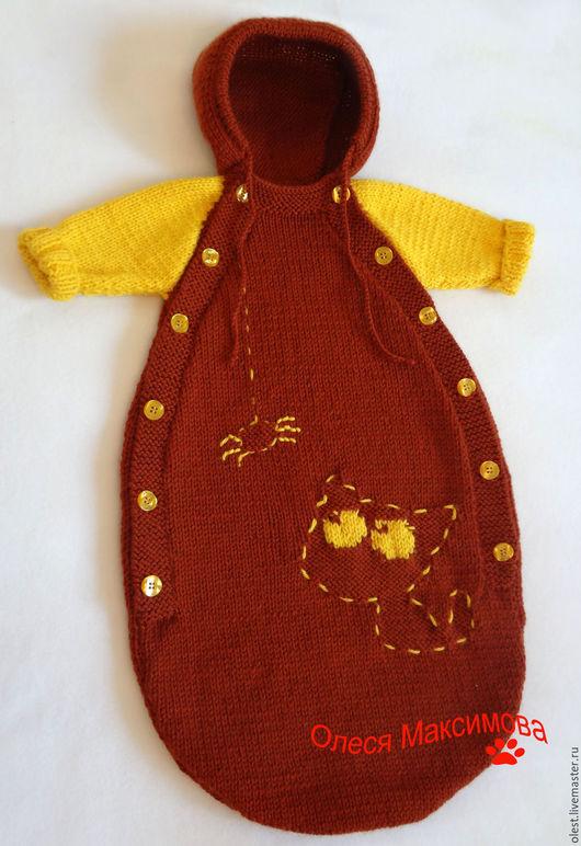 Для новорожденных, ручной работы. Ярмарка Мастеров - ручная работа. Купить Вязаный конверт для новорожденного Лунный свет. Handmade. Коричневый