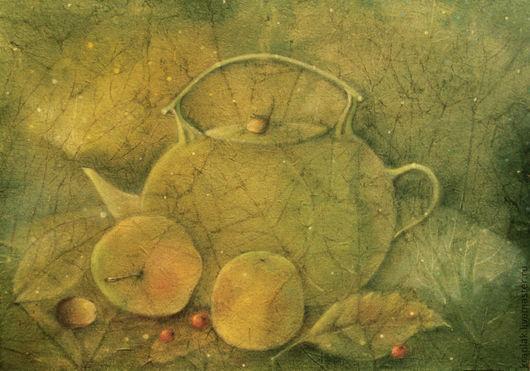 Натюрморт ручной работы. Ярмарка Мастеров - ручная работа. Купить Чайник для первого снега...Картина-принт на холсте.. Handmade. Оливковый