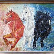 Картины и панно ручной работы. Ярмарка Мастеров - ручная работа Тройка лошадей. Handmade.