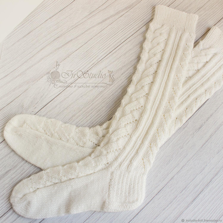 6568f3f49015c Ирина InStudio вязаные Носки, Чулки ручной работы. Гольфы вязаные белые  ажурные высокие носки. Ирина InStudio вязаные