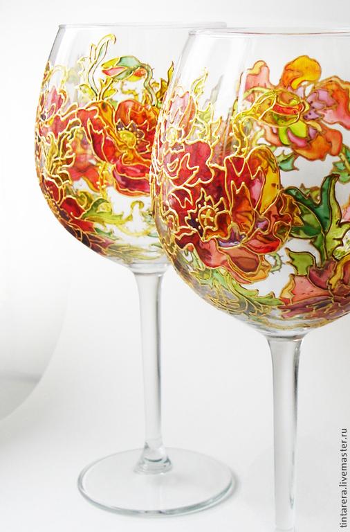 """Бокалы, стаканы ручной работы. Ярмарка Мастеров - ручная работа. Купить бокалы для вина """"Маки"""". Handmade. Ярко-красный"""