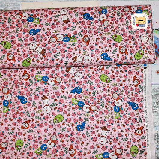 Шитье ручной работы. Ярмарка Мастеров - ручная работа. Купить Ткань для пэчворка Чудики в цветах на розовом (20380) корейский хлопок. Handmade.