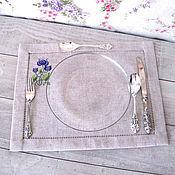 Салфетки ручной работы. Ярмарка Мастеров - ручная работа Три льняные салфетки Цветы. Handmade.