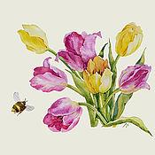 """Картины ручной работы. Ярмарка Мастеров - ручная работа """"Майское настроение"""" яркая картина акварелью с тюльпанами. Handmade."""