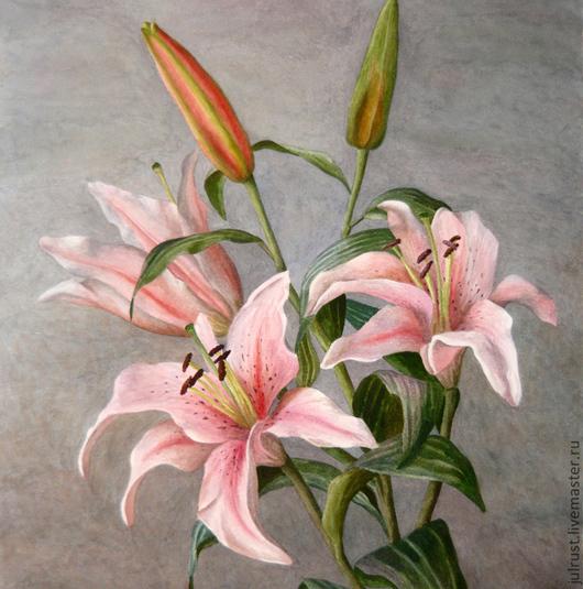 Картины цветов ручной работы. Ярмарка Мастеров - ручная работа. Купить Картина акварелью Лилия, живопись розовый серый. Handmade.